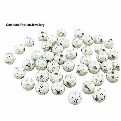 80Pcs X 8Mm Sparkling White Silver Star Acrylic Round Beads For Jewellery Making