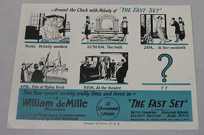 1924 Lost Film The Fast Set William deMille Film Movie Herald Betty Compson