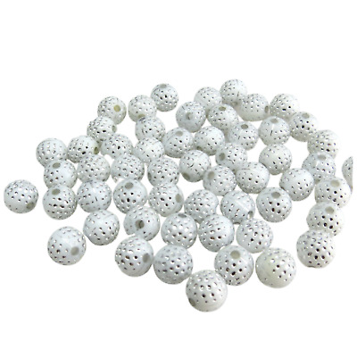 80Pcs X 8Mm Sparkling White Silver Dot Acrylic Round Beads For Jewellery Making