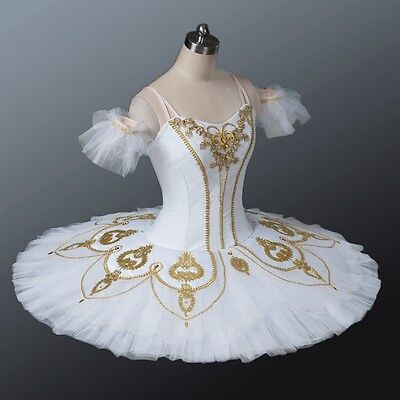 M Bust 30-33 White & Gold Professional Classical Ballet Tutu YAGP Nut In Stock!