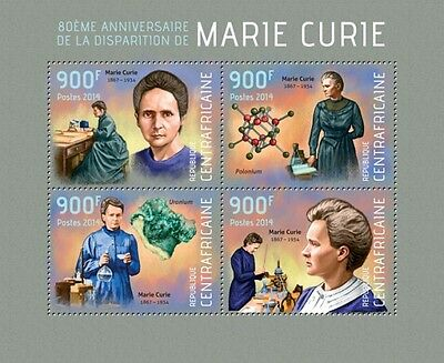 Marie Curie Physicist Science Nobel Central Africa m/s Mi. 4575-78 MNH #CA14112a