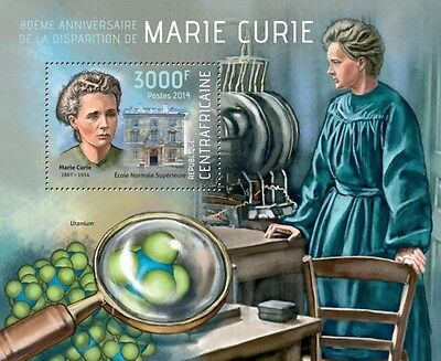 Marie Curie Physicist Science Nobel Central Africa s/s Mi.Bl.1128 MNH #CA14112b