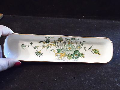 Crown China Mint Tray Pattern Kowloon Green Floral Urn Staffordshire England