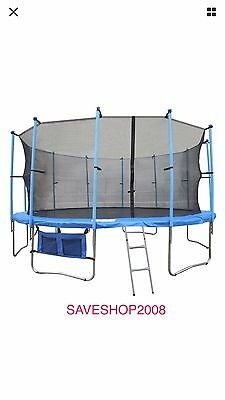 10Ft Trampoline With Safety Net Enclosure Ladder Rain Cover Shoe Bag