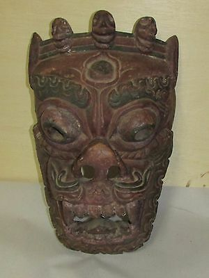 Old or Antique Wood Carving Mask Asian Oriental Nepalese