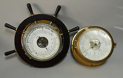 Two Schatz Brass Ships Clock Barometers for Parts