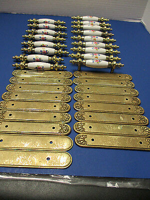 Vintage Porcelain Floral Drawer Cabinet Pulls w/ Brass Backplates 17 Sets