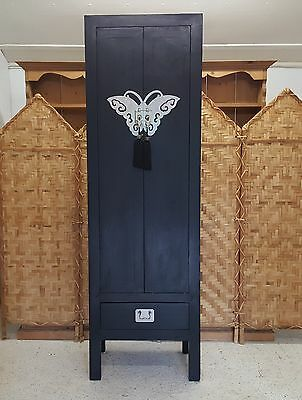 Tall Black Oriental Indian Design Storage Unit Cabinet Cupboard *couriers Avail*