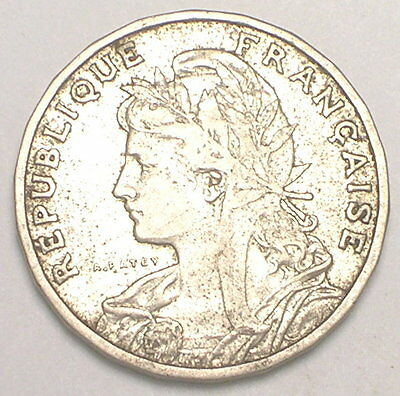 1904 France French 25 Centimes Ceres Fasces Coin F+