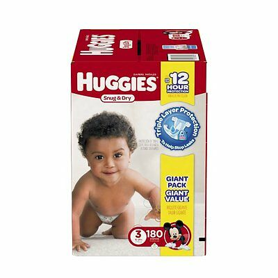 Huggies Snug and Dry Diapers, Size 3, 180 Count One Month Supply