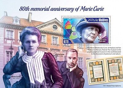 Marie Curie Physicist Science Nobel laureate Maldives s/s Sc.3119 MNH #MLD14104b