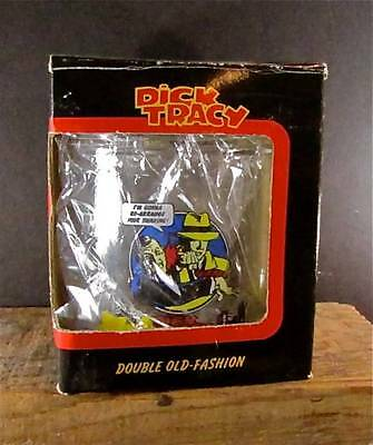 Vintage DICK TRACY Old Fashioned Glass Double Walled w/ Glitter & Floaters IOB