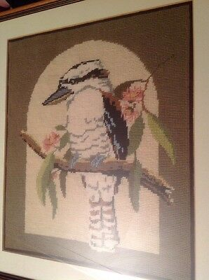 Framed And Glazed Completed Tapestry Of A Kookaburra Bird