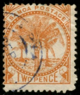 SAMOA Sc#13a SG#23 1886 2p orange perf 12½ Used