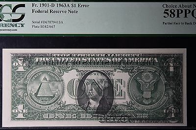$1 Dollar Bill Note 1963 A PARTIAL OFFSET PRINT ERROR CURRENCY ERROR! PCGS 58PPQ