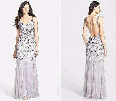 ADRIANNA PAPELL HEATHER Grey Beaded Backless Mesh Art Deco Gown NWT ...