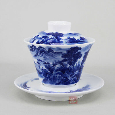 Landscape Chinese handmade Blue and white porcelain gaiwan bowl tea cup 180cc