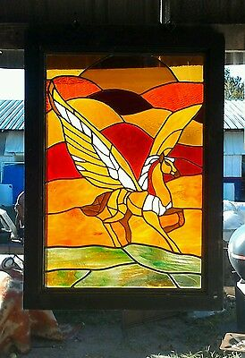 LARGE Stained Leaded Glass Window Pegasus Horse, GAS OIL SIGN TEXACO SHELL MOBIL