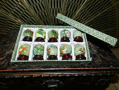 Jade Eggs, Hand Painted w/ Wood Stands Lot of 10 - Gift Boxed Set STONE EGGS