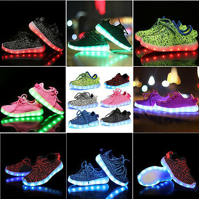 Fashion Kids Unisex LED Light Lace Up Luminous Casual Shoes Sportswear Sneaker@@