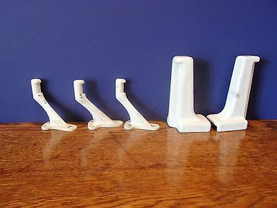 Vintage Art Deco White Ceramic Brackets Slotted Holders for Shelf & Hooks