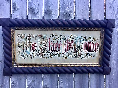 Antique Needlework -No Place Like Home-Rope Carved Eastlake Frame