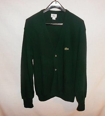 Vintage Men's Dark Green Lacoste Button Front Cardigan Sweater Made in USA L