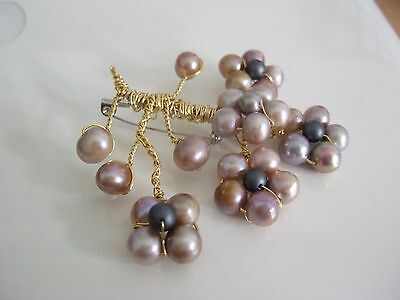 Freshwater Pearl Wire Wrapped Flower Brooch