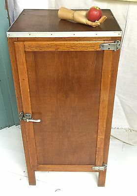 Antique Industrial/ utility French wooden fridge cool larder cupboard oak & zinc