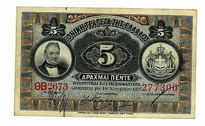Greece … P-54 … 5 Drachmai … 1917 … *VF+*