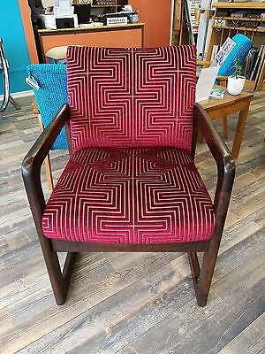 1960's Canadian Lounge Chair in Harlequin fabric. retro, vintage, antique.