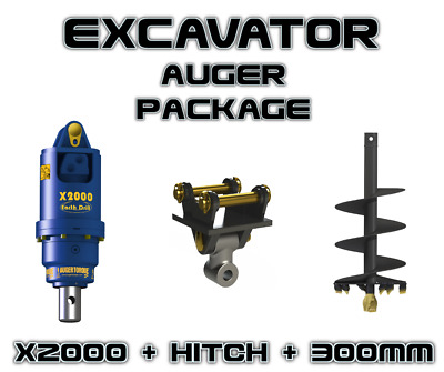 Auger Torque Earthdrill X2000 + 300Mm Auger Package, Auger Drive, Excavator