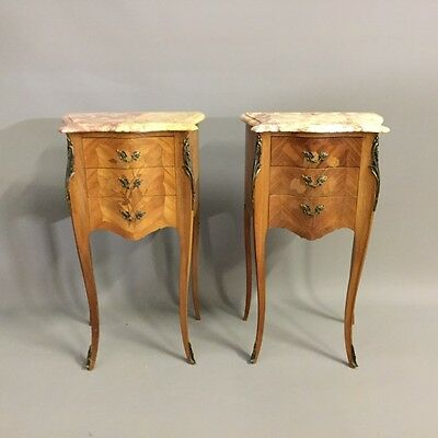 Pair of marquetry bombe side tables        a14376