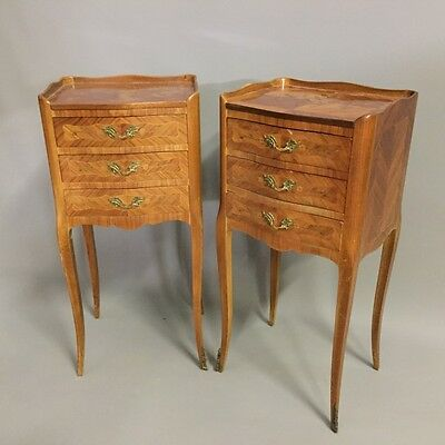 Pair of marquetry side tables        a14377