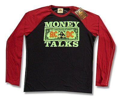 Ac/dc & Trunk Ltd 'money Talks' Longsleeve Raglan Shirt Adult Small New Nwt
