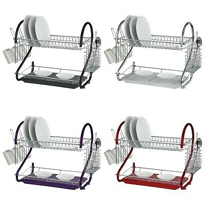 2 Tier Dish Drainer Rack Bowl Cup Plate Storage Draining Drip Tray Plates Holder