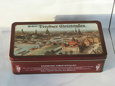 Dresdner Christstollen Stollen tin box used rare metal case