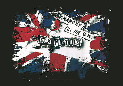 """Sex Pistols Flagge / Fahne """"anarchy In Uk"""" Poster Flag"""