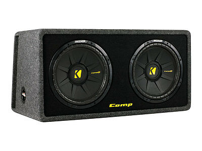 """Kicker CompS Dual 12"""" Sub Vented Loaded Subwoofer Enclosure 600W RMS"""
