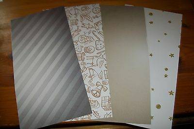"""4 Sheets Cardboard """"christmas """"/2 Sided 30 X 15 Cm (A85) New New"""