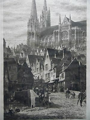 Axel Haig Chartres Streetscene with Cathedral. Signed Antique Etching.