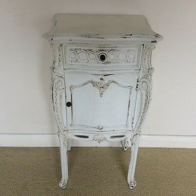 Single French painted bedside cabinet      a13966