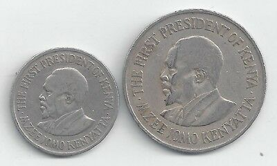 2 DIFFERENT COINS from KENYA - 50 CENTS & 1 SHILLING (BOTH DATING 1971)