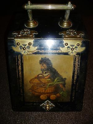 VICTORIAN METAL & BRASS FIREPLACE COAL SCUTTLE TOLEWARE DOG PANEL poss RUSSIAN