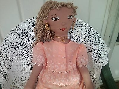 Handmade African American Lady Doll 27 Inches Tall One of A Kind!