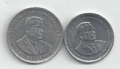 2 DIFFERENT COINS from MAURITIUS - 1/2 & 1 RUPEE (BOTH DATING 2005)