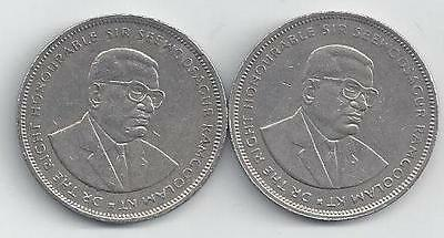 2 HIGHER DENOMINATION 5 RUPEE COINS from MAURITIUS (1991 & 1992)