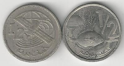 2 DIFFERENT 1/2 DIRHAM COINS from MOROCCO - 2002 & 2012 (2 TYPES)