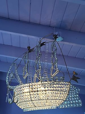 Antique Ship Boat Crystal Galleon Chandelier Glass Crystal Italian French