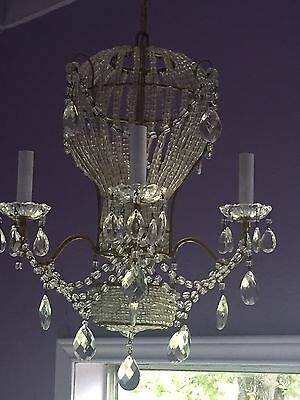 Antique French Hot Air Balloon Chandelier Macaroni Beads Crystal Italian